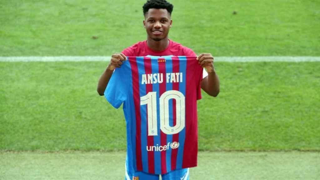 Ansu Fati, con el número '10' del Barça