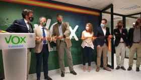 Javier Ortega Smith, duante la inauguración de la sede de VOX en Valladolid.