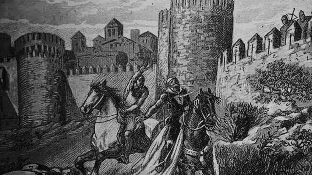 Bellido Dolfos mata a Sancho en las murallas de Zamora. Litografía de Joan Serra Pausas de 1900