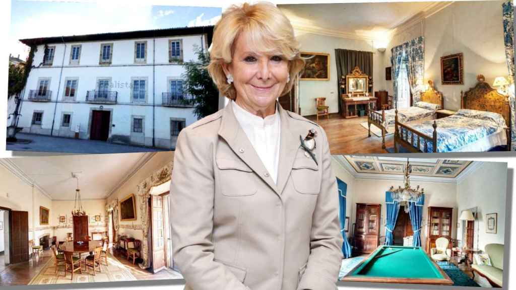 Esperanza Aguirre junto a las fotos del palacete de su suegra, en un montaje de Jaleos.