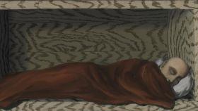 Detalle de 'El durmiente temerario', de René Magritte.