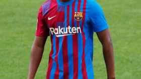 Ansu Fati, durante la presentación de la temporada del Barça