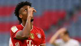 Kingsley Coman en un partido con el Bayern de Múnich