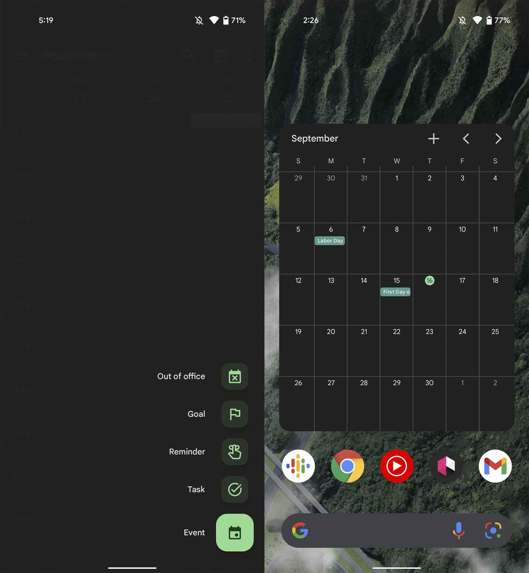 Calendario de Google con Material You
