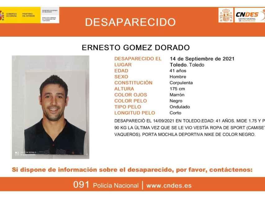 Ernesto Gómez Dorado desapareció en Toledo el pasado martes 14 de septiembre.