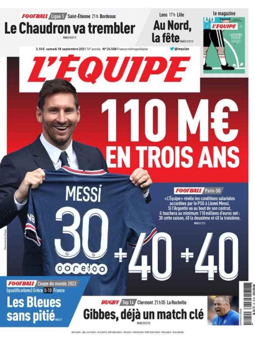 La portada del diario L'Equipe (18/09/2021)