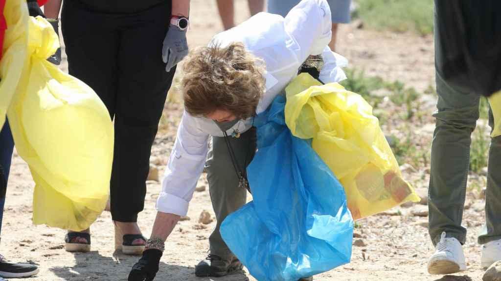 La reina Sofía ha recogido basuras en la playa Almadraba de Alicante.
