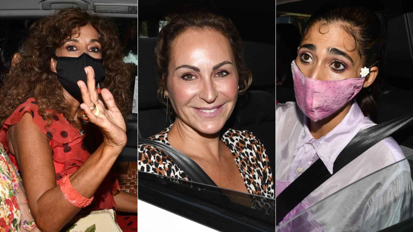 Rosario, Ana Milán y Alba Flores en la boda de Elena Furiase y Gonzalo Sierra.