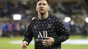 Leo Messi, calentando con el PSG