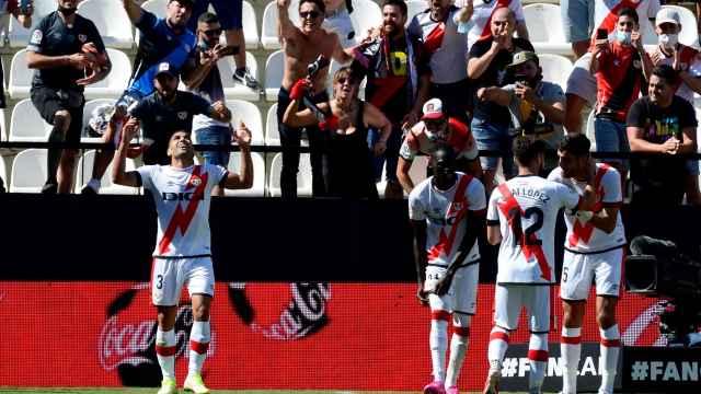 Falcao celebra su primer gol con el Rayo Vallecano