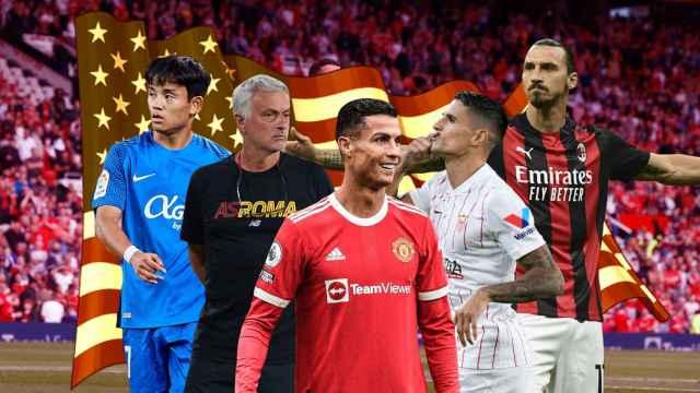 Takefusa Kubo, José Mourinho, Cristiano Ronaldo, Erik Lamela y Zlatan Ibrahimovic, en un fotomontaje