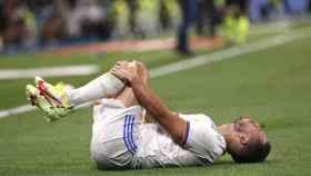 Eden Hazard, en el suelo durante el partido ante el Celta