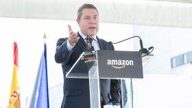 Emiliano García-Page, el pasado viernes durante la inauguración de un centro logístico de Amazon en Illescas. Foto: JCCM.