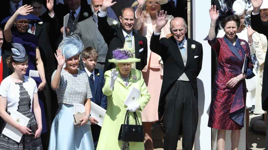 The Duke of Edinburgh with several members of his family at Meghan and Harry's wedding.