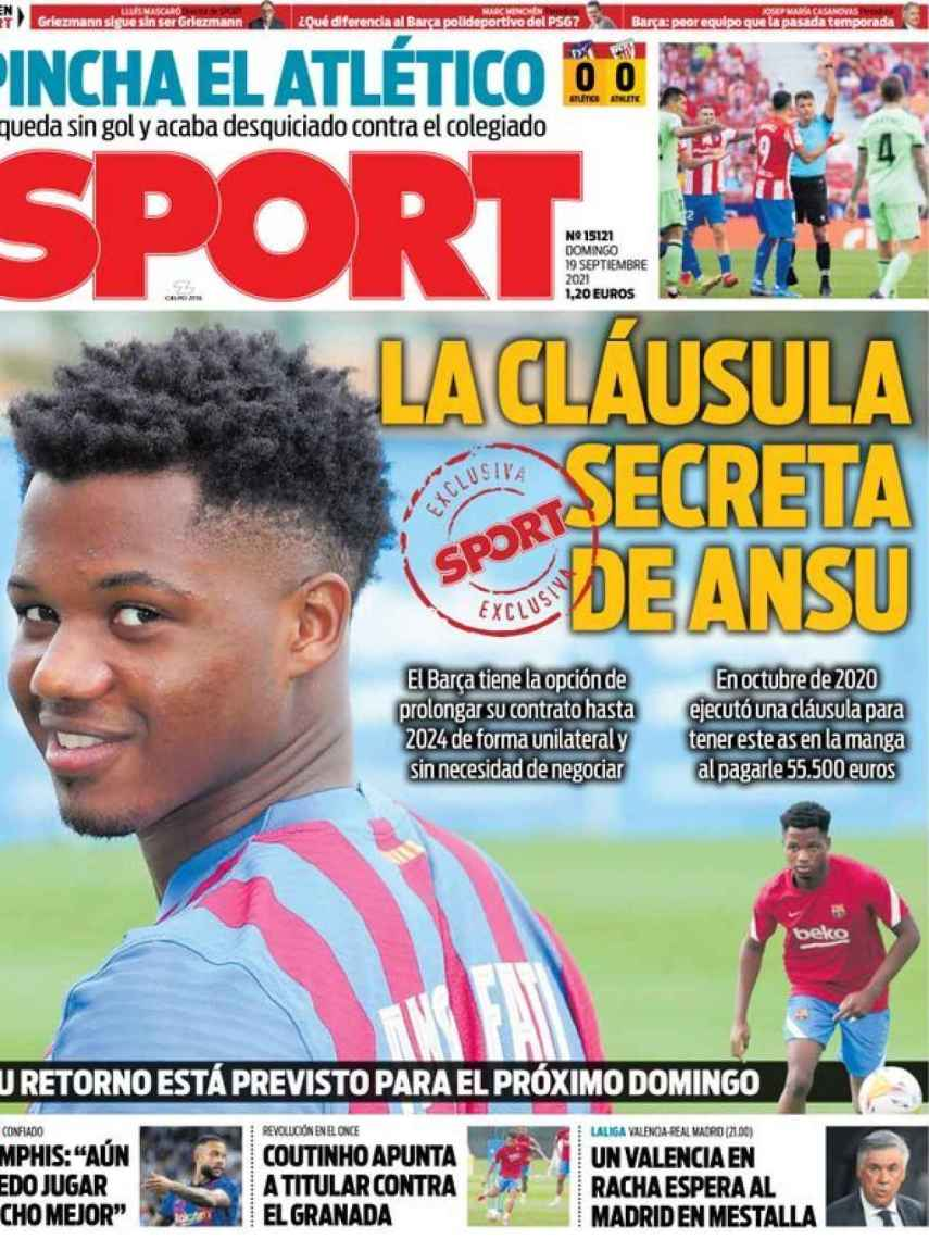 La portada del diario SPORT (19/09/2021)
