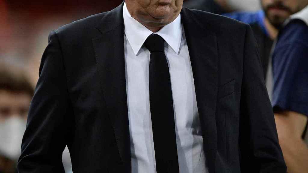 Carlo Ancelotti, durante el Valencia - Real Madrid