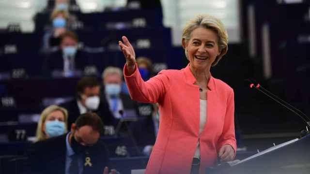 Ursula von der Leyen, presidenta de la Comisión Europea, durante el Debate sobre el Estado de la Unión celebrado en Estrasburgo. Unión Europea, 2021.