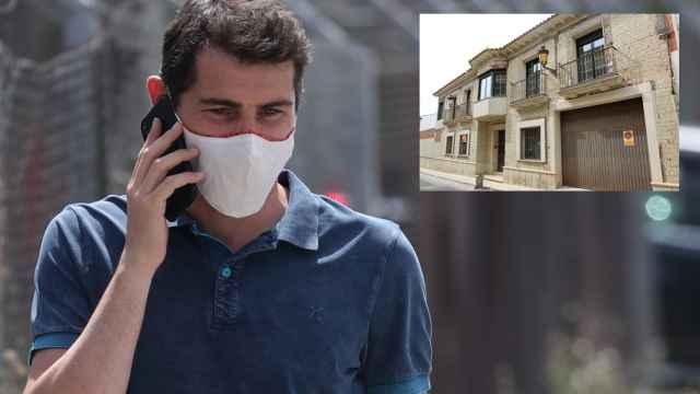 Iker Casillas en montaje de JALEOS junto a la fachada de la que fue su casa en Corral de Almaguer, Toledo.