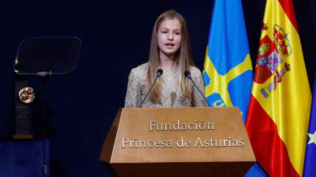 La princesa Leonor pronunciando un discurso en los Premios Princesa de Asturias de 2020.