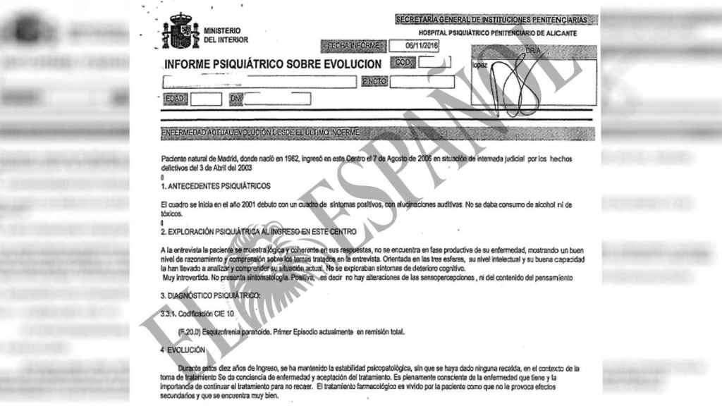 Informe psiquiátrico de Interior favorable a Noelia de Mingo.