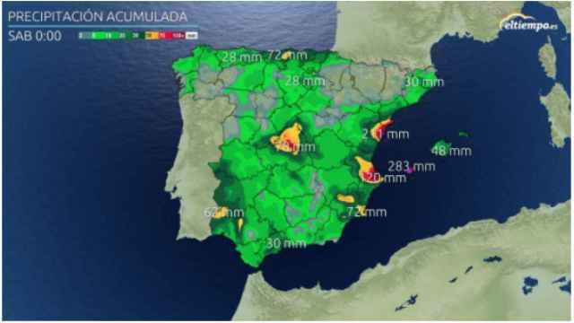 Acumulación de precipitación prevista hasta el viernes 24 de septiembre. Eltiempo.es