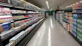 Pasillo de un supermercado Mercadona.
