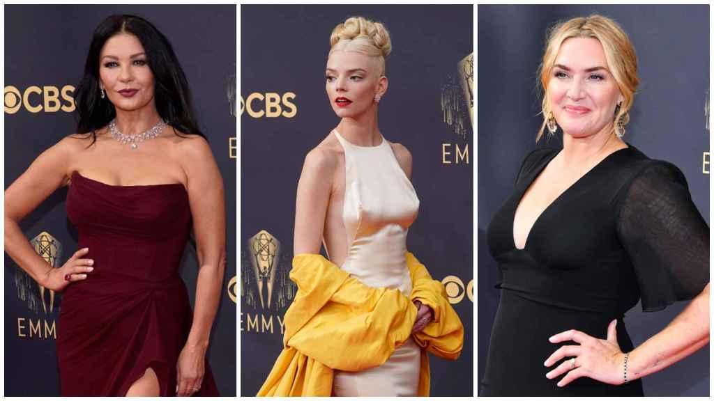 Catherine Zeta-Jones, Anya Taylor-Joy y Kate Winslet, en su llegada a los premios Emmy.