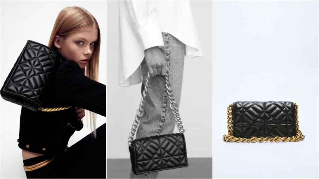 Modelo con bolso de Zara que recuerda al 2.55 de Chanel. Su precio, 22,95 euros.