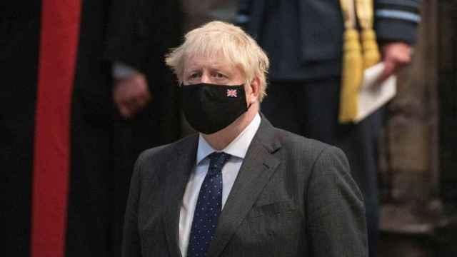 Boris Johson durante el 81º aniversario de la Batalla de Inglaterra, en la Abadía de Westminster