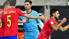 La selección de España celebra un gol en el Mundial de fútbol sala