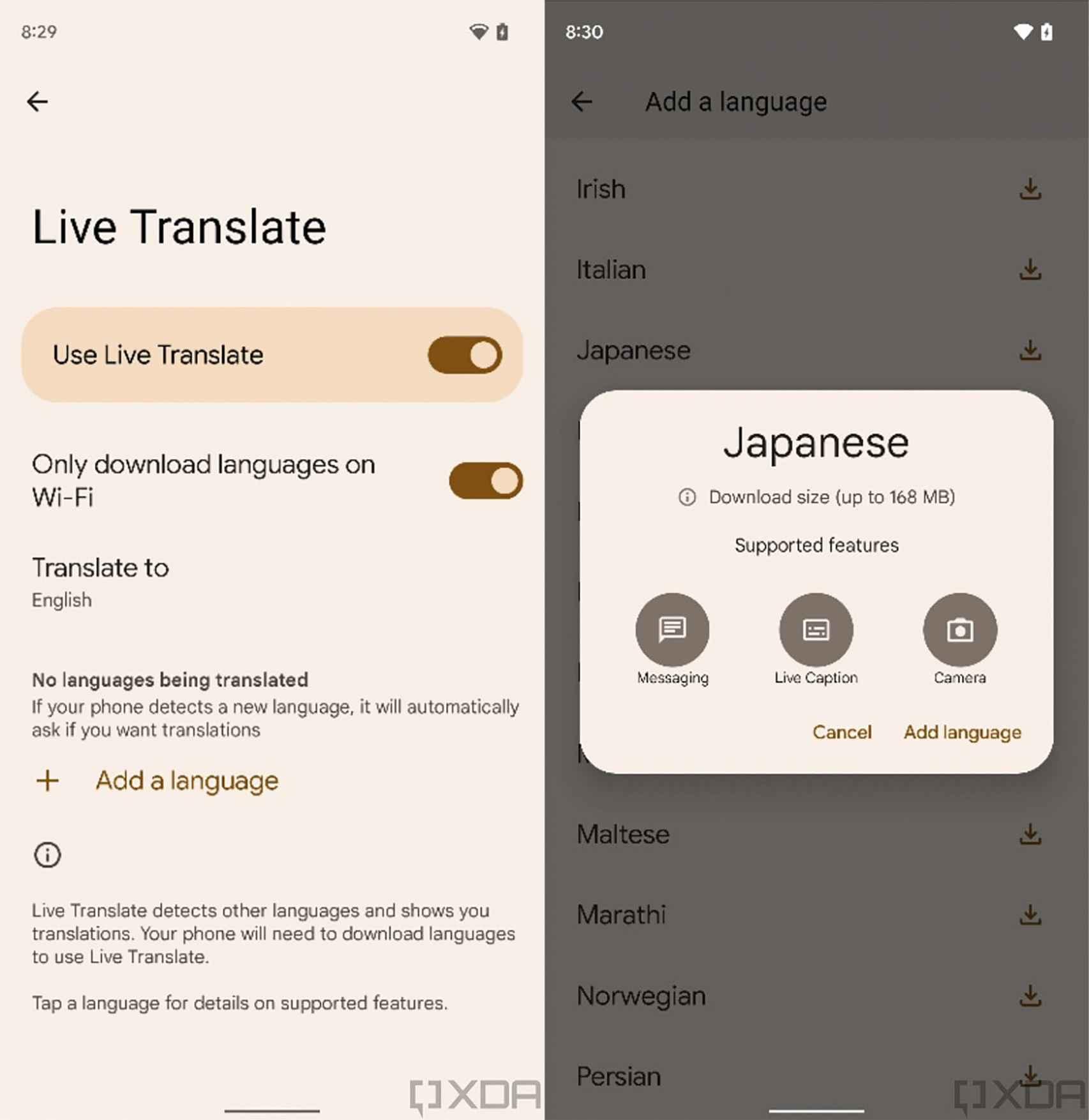 Live Translate en japonés