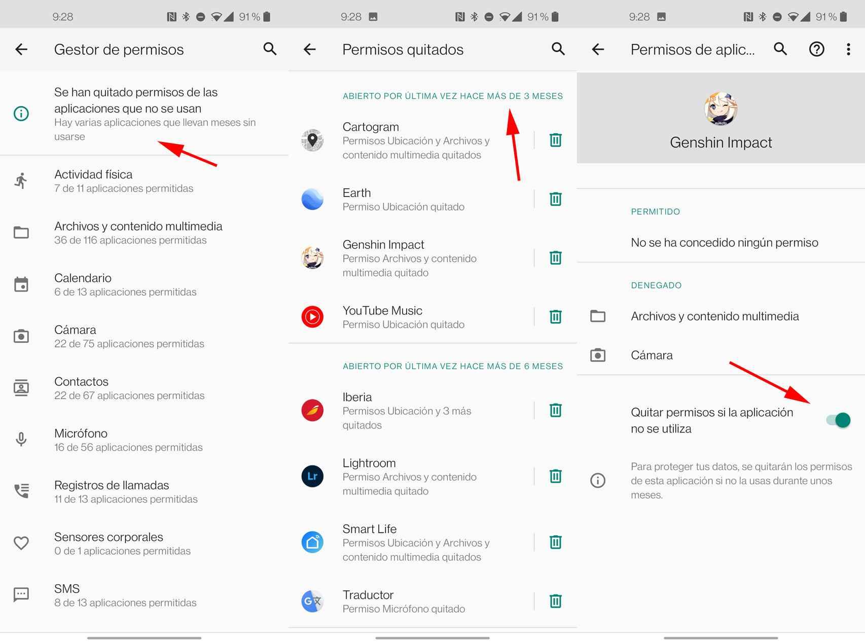 Permisos automáticos de Android 11