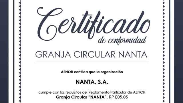 Aenor respalda el sello Granja Circular de Nanta