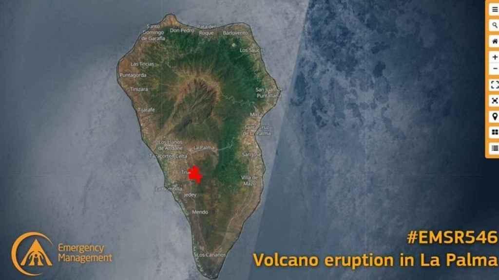 Vista aérea de la erupción del volcán en La Palma.