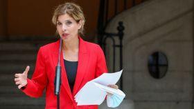 La portavoz del PSOE en la Asamblea, Hana Jalloul, comparece tras reunirse con Isabel Díaz Ayuso.