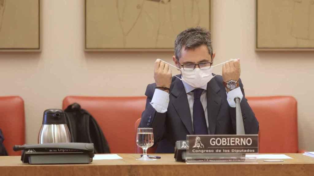 Félix Bolaños, ministro de la Presidencia, comparece en la Comisión Constitucional del Congreso de los Diputados.