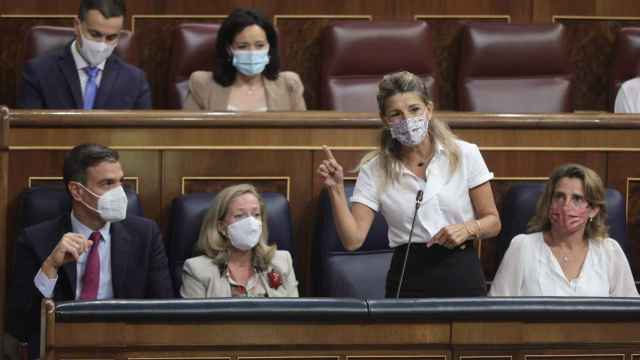 Pedro Sánchez, Nadia Calviño, Yolanda Díaz y Teresa Ribera.