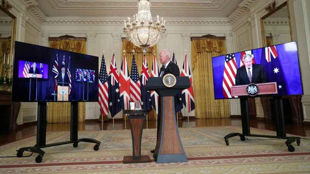 Los líderes de Australia, Estados Unidos y Reino Unido, durante el anuncia de la alianza.