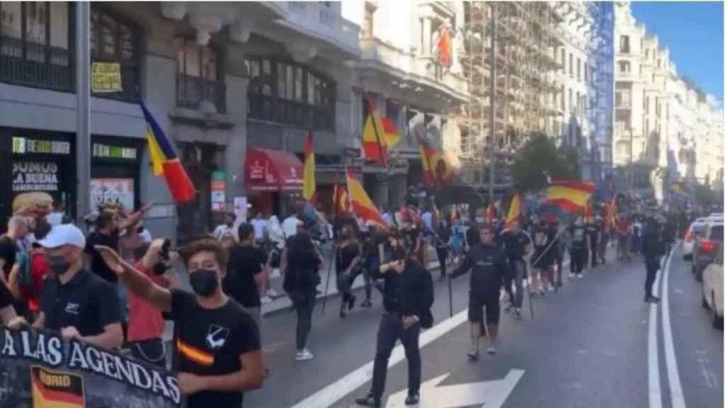 Varios manifestantes hacen el saludo fascista en la manifestación organizada por la plataforma Madrid Seguro el pasado sábado.