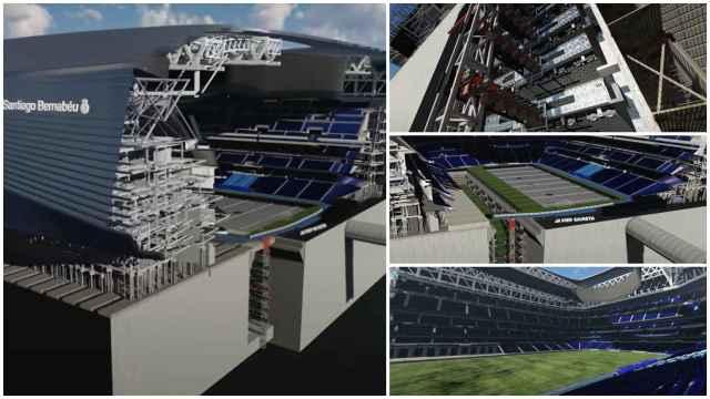 El césped retráctil del Santiago Bernabéu