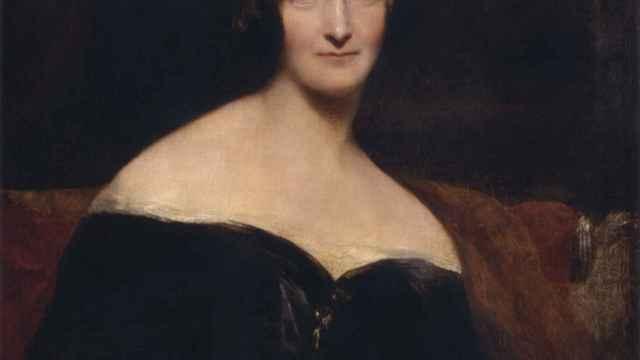 Mary Shelley en un retrato de Richard Rothwell.