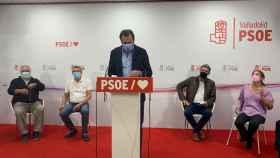 Óscar Puente durante la rueda de prensa donde ha anunciado su candidatura al PSOE de Valladolid