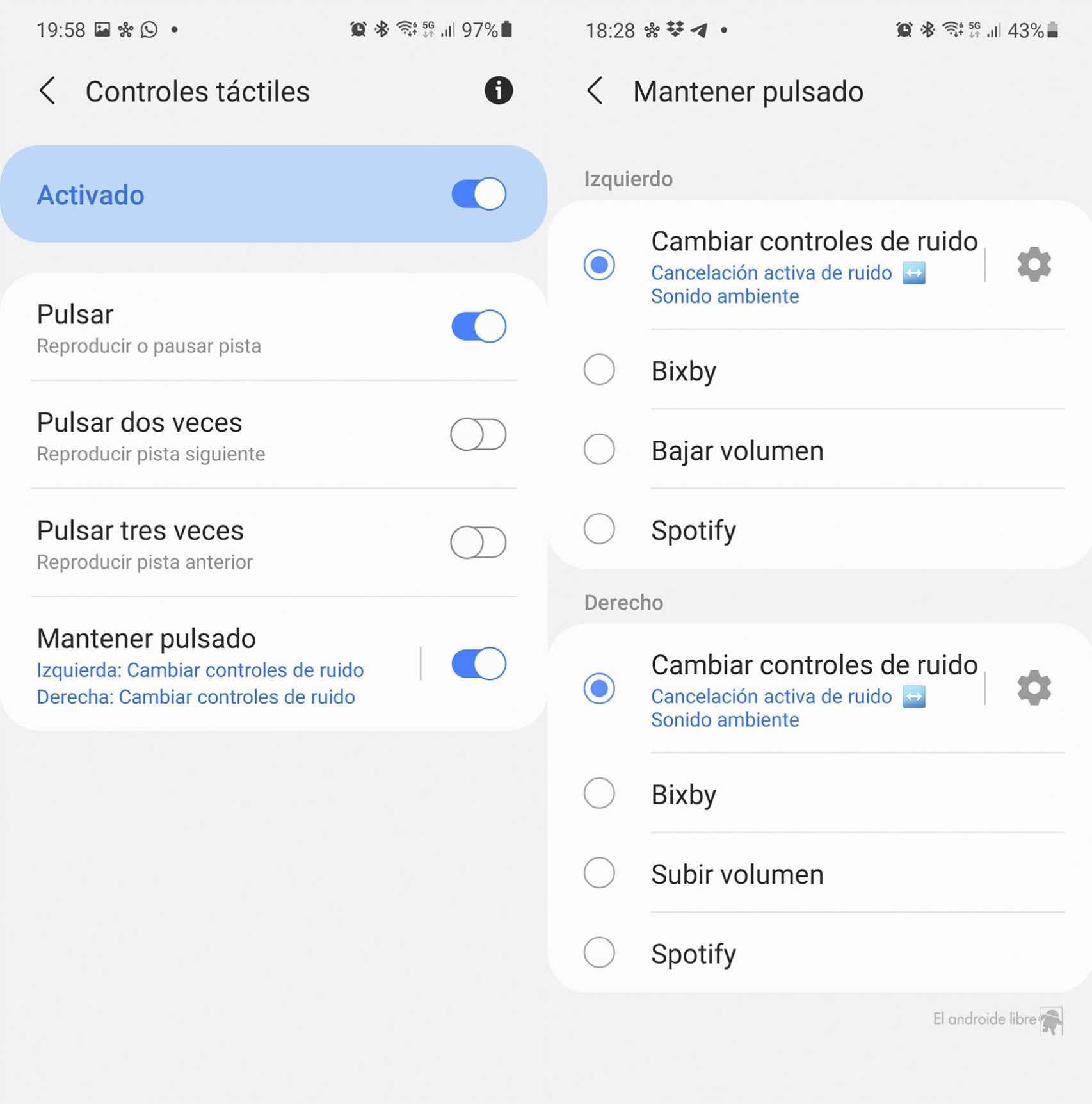 Controles táctiles de los Galaxy Buds 2 de Samsung