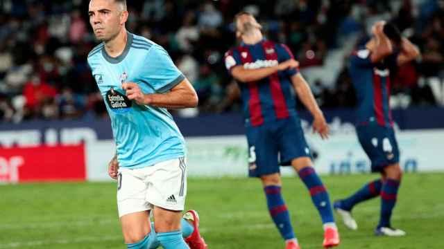 Iago Aspas celebra su gol ante el Levante