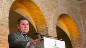 El presidente de Castilla-La Mancha, Emiliano García-Page, este lunes en un acto en Talavera