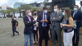 El secretario de Medio Ambiente, Hugo Morán, el presidente de Murcia, Fernando López Miras, y el comisario europeo de medio ambiente, Virginijus Sinkevicius.