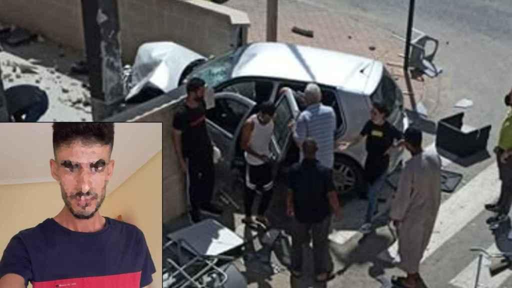 Una foto de Abdellah, junto al estado en el que quedó el coche que conducía.
