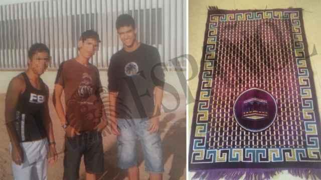 Abdellah, durante su paso por un centro de menas en Valencia. Al lado, la alfombra con la que rezaba.