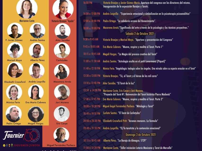Cartel de ponentes del congreso del tarot de Tomelloso (Ciudad Real)