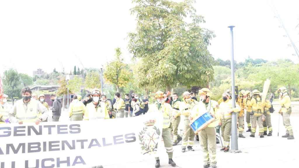 Protesta de los bomberos forestales en las Cortes